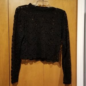 Long sleeve black lace crop top XL